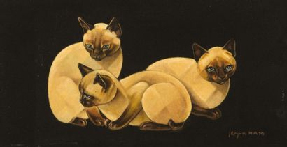 Jacques NAM (1881-1974) Trois chats Huile sur panneau Signée en bas à droite H_20...