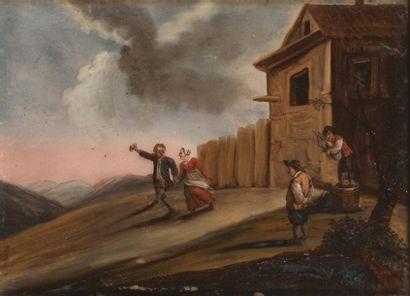 Ecole HOLLANDAISE de la fin du XVIIe siècle La danse Paire de fixés sous verre H_21...