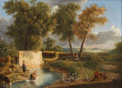 ECOLE SUISSE DE LA FIN DU XVIIIE SIÈCLE, DÉBUT XIXE SIÈCLE Paire de paysages au ruisseau...