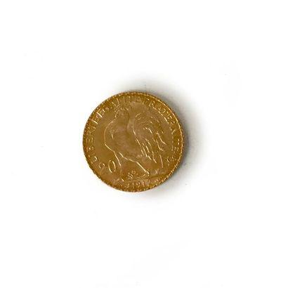 Un lot de 52 pièces de 20 francs or à l'effigie...
