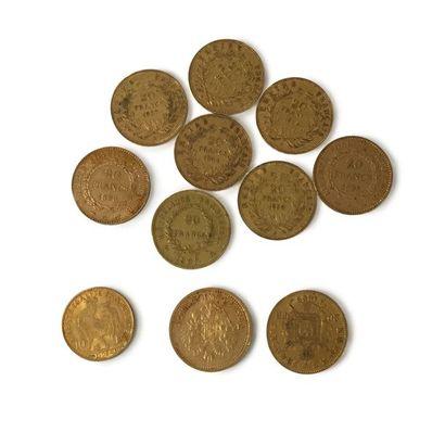 Un lot de 10 pièces de 20 francs or aux effigies...