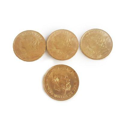 Lot de 3 pièces or 20F Suisse et une pièce...