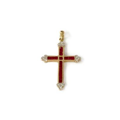 Pendentif croix en or 18K (750), orné de...