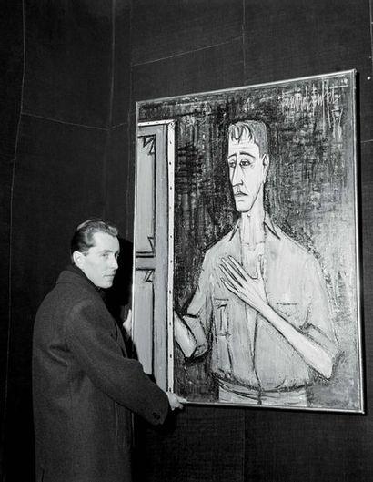 Bernard Buffet 1928 - 1999 Autoportrait sur fond noir, 1956 signe Bernard Buffet...
