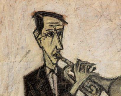 Bernard Buffet 1928 - 1999 Trompettiste, 1947 huile sur deux pieces de toile assemblees...