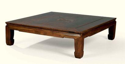 TABLE BASSE CARRÉE EN BOIS EXOTIQUE, CHINE,...