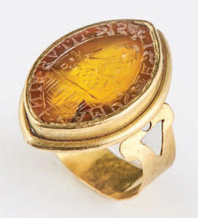 Rare bague sceau de changeur en or et agathe....