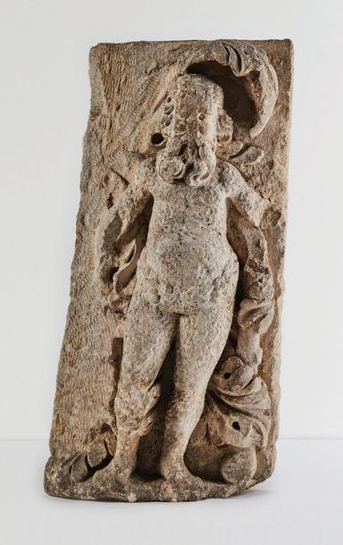 Homme sauvage en pierre calcaire sculptée...