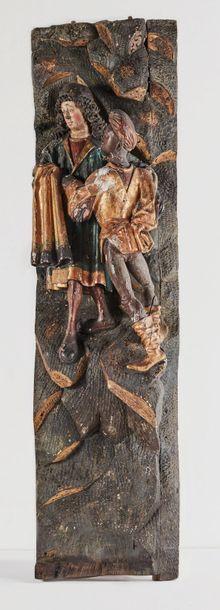 Fragment de retable en chêne sculpté en fort...