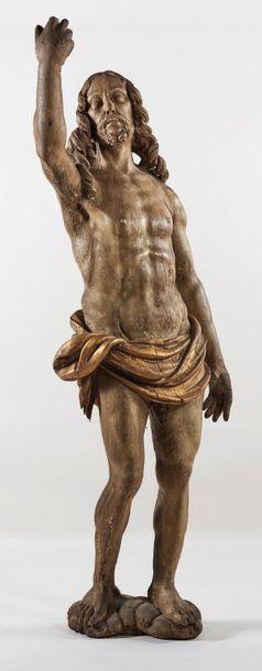 Christ ressuscité en chêne sculpté, polychromé...