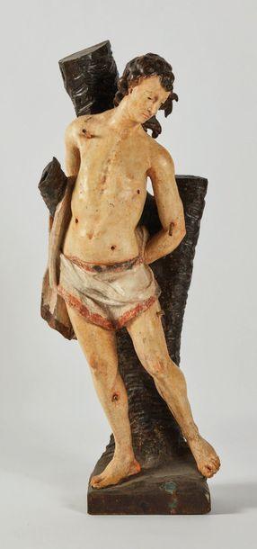 Saint Sébastien en chêne sculpté et polychromé....