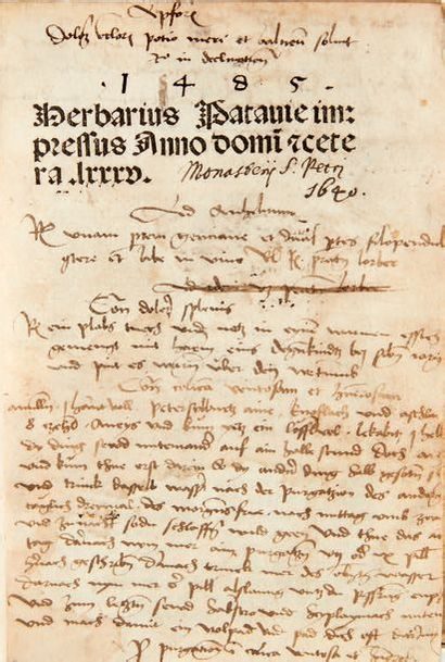 [HERBIER.] Herbarius Patavie impressus anno domi[ni] &cetera. lxxxv. Passau, Johann...