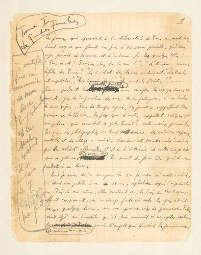 GENET, Jean. Pompes funèbres. Sans lieu ni date [vers 1945-1946]. Manuscrit autographe...