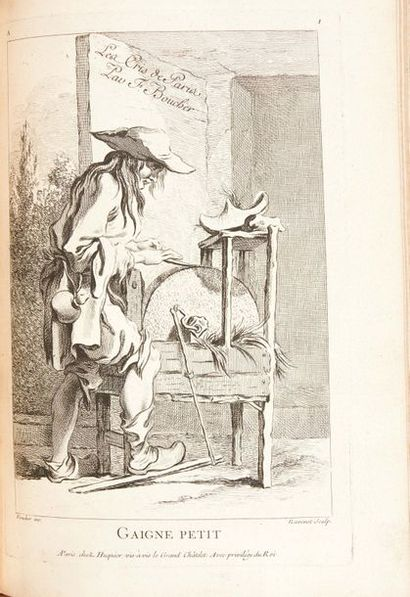 BOUCHARDON, BOUCHER, VANLOO... Recueil composite de 186 gravures, comprenant: BOUCHARDON...