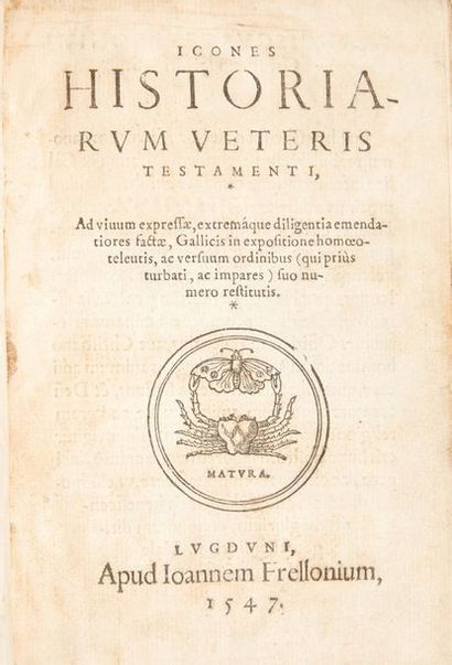 CORROZET (Gilles) lcones historiarum veteris testamenti. Lyon, Frellon, 1517. ln-4....