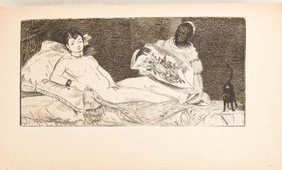 ZOLA (Emile) Ed. Manet. Dentu, 1867. Demi-chagrin à coins. Portrait de Manet par...