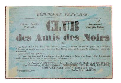 [AFFICHE]. Club des Amis des Noirs. Paris:...