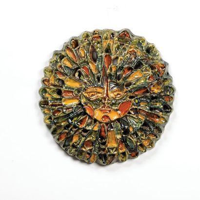 ROLAND ZOBEL 1915-2006 Sculpture modèle «Soleil» Grès émaillé polychrome Vers 1970...