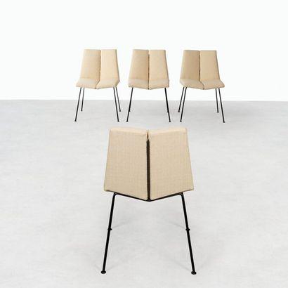 Pierre GUARICHE 1926-1995 Suite de quatre chaises modèle «Quatre faces» Métal laqué...