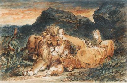 SUIVEUR D'EUGÈNE DELACROIX 1798 – 1863 Lion et Lionne jouant FOLLOWER OF EUGÈNE DELACROIX...