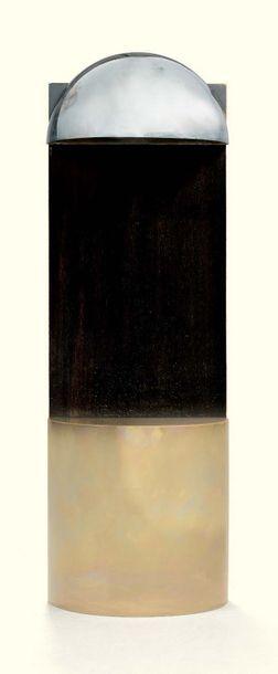 SERGE MANZON 1930 - 1998 Lampe, vers 1970 laiton et sapelli ; signé Serge Manzon...