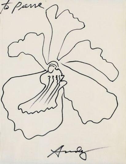 Andy Warhol 1928 - 1987 Sans titre (Orchidée) signé et dédicacé to Pierre feutre...