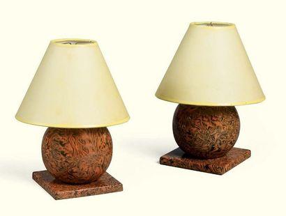 * PAIRE DE LAMPES EN FAÏENCE D'APT, SECONDE...