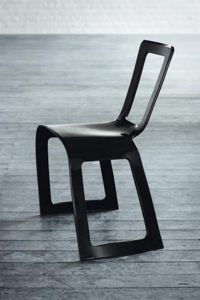 Stack - Pièce unique Chaise en corian noir...