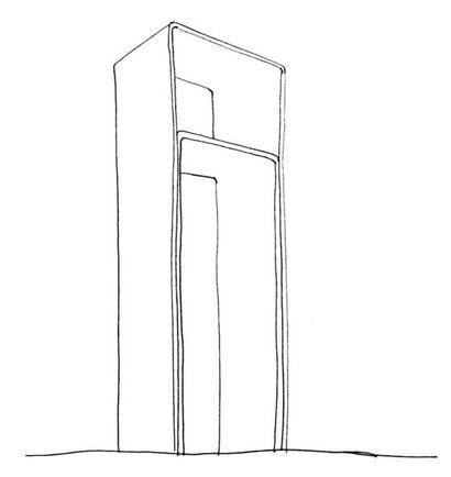 Stèle - Épreuve d'artiste Stèle en corian 12 mm noir et blanc. H_110 cm L_38 cm...