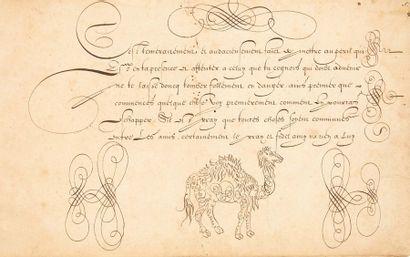 [CALLIGRAPHIE]. Livre d'écriture manuscrit. S.l., XVIIe siècle. — In-4 oblong, 8...