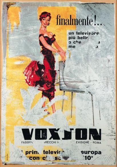 MIMMO ROTELLA (1918-2006) Voxson Sérigraphie en couleurs. Signée et numerotée 22/99....