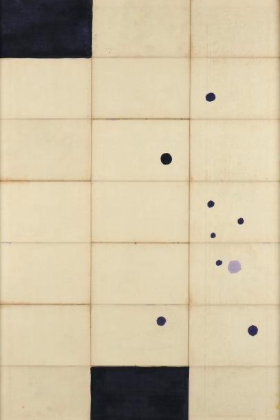 JAMES BROWN (NÉ EN 1951) Study black + blue # 2, 1991 Huile sur toile de lin. Signée,...