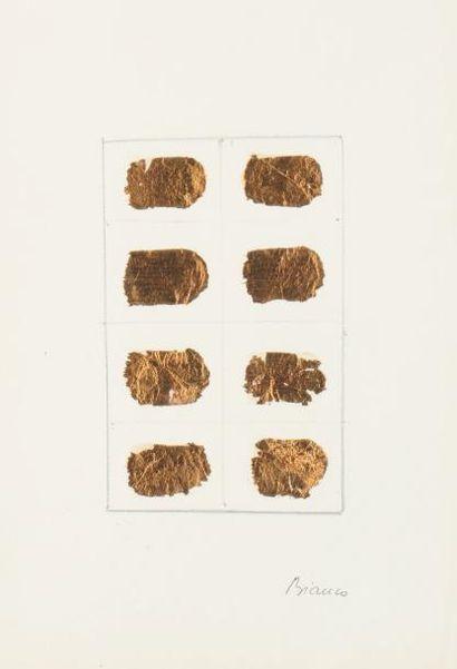 REMO BIANCO (1922-1990) Sans titre Feuille d'or et mine de plomb sur papier. Signée...