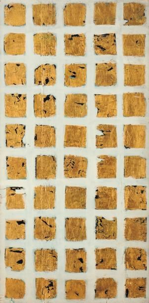 REMO BIANCO (1922-1990) Sans titre Huile et feuille d'or sur panneau. H_49,4 cm L_24,5...