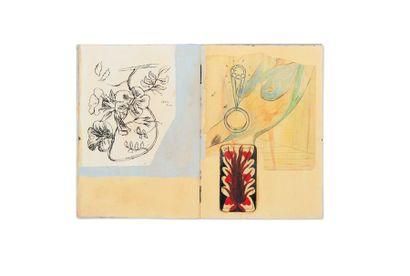 SPIDER Blue book Livre d'artiste. Gouache,...