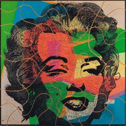 UGO NESPOLO (NÉ EN 1941) Guardar Marilyn, 1980 Sérigraphie en couleur sur bois. Epreuve...