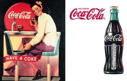 Suite de deux enseignes Coca-Cola Reproductions...