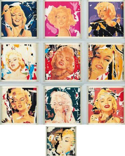 MIMMO ROTELLA (1918-2006) Marilyn, i volti, 1998 Ensemble de 10 lithographies en...