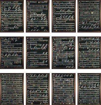 Ensemble de treize cadres de Pin's Composé...