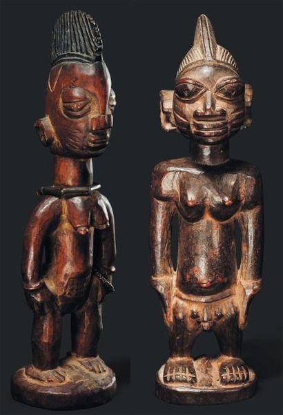 Paire de Statuette Yoruba, Nigeria - Bois....