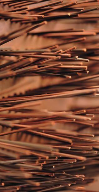 POL BURY (1922-2005) Sans titre, circa 1962 Bois, cuivre, moteur électrique. H_33,5...