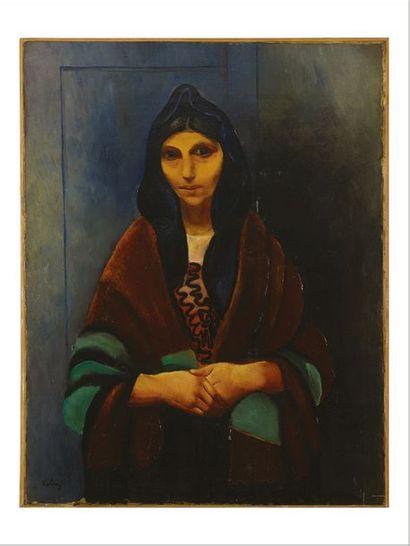 Moïse KISLING (1891-1953) Polonaise, les mains croisées Huile sur toile. Signée en...