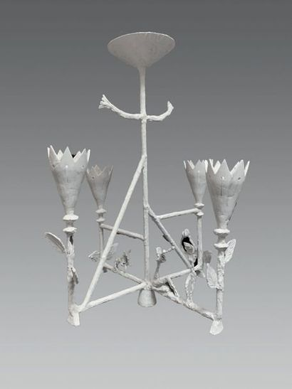 PIERRE ALLEN (ATTRIBUÉ À) Grand lustre cage Cuivre recouvert de plâtre. Vers 1975....