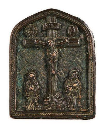 BAISER DE PAIX en bronze en forme de gable...