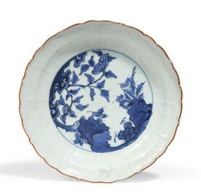COUPE POLYLOBÉE en porcelaine bleu blanc...
