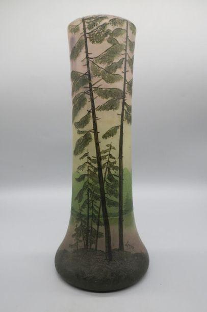 LEGRAS Vase à corps tubulaire galbé et base...