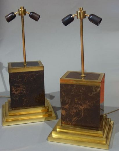Roméo REGA (1904-1968) Paire de lampes Circa...