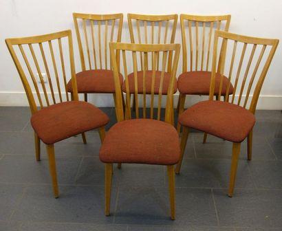 Travail Italien 6 chaises en hêtre teinté...