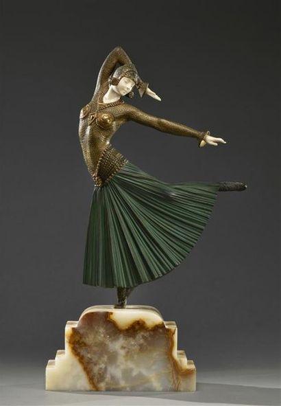 """Demeter CHIPARUS (1886-1947) """" Ayouta """". Chryséléphantine en bronze patiné polychrome..."""