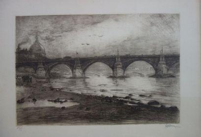 Joanny DREVET (1889 - 1969). Vue du pont...